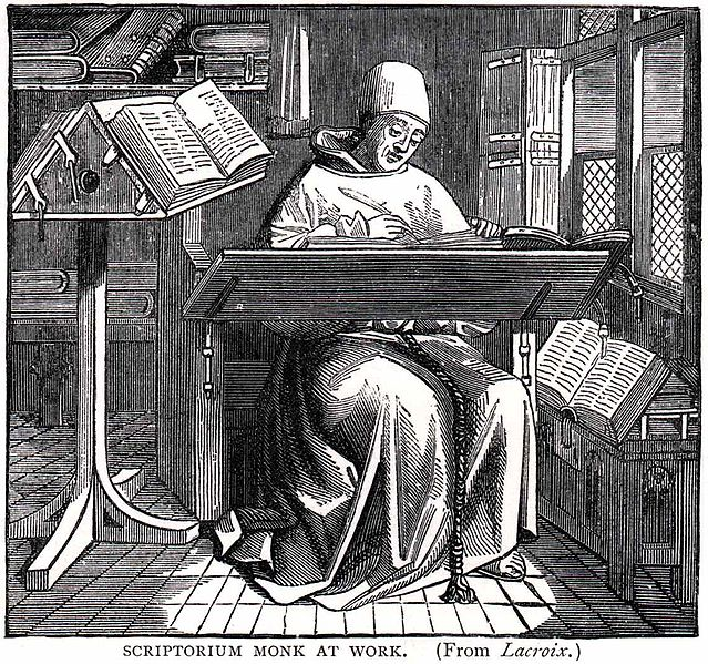 Image of a monk at work in a Scriptorium
