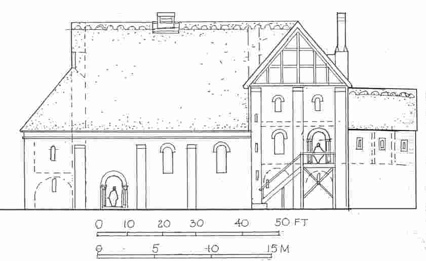 A reconstruction drawing of Weeting Castle